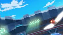 Talonflame de Ash usando ala de acero.
