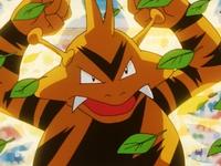 Electabuzz usando rayo para defenderse de las hojas afiladas del Bulbasaur de Ash.
