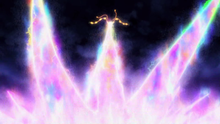 Mega-Rayquaza usando pulso dragón.