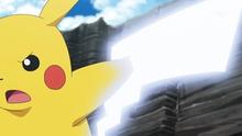 Pikachu de Ash usando cola férrea