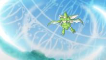 Scyther de Goh usando tajo aéreo.