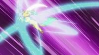 Psicoonda envolviendo a Leafeon que a su vez está utilizando golpe aéreo...