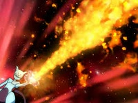 Mewtwo usando lanzallamas.