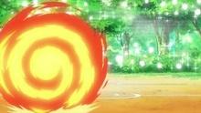 Cyndaquil usando rueda fuego.