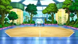 Campo de batalla del Gimnasio de Porcelana en el anime