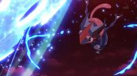 Greninja Ash usando shuriken de agua.