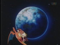 Charizard usando movimiento sísmico.