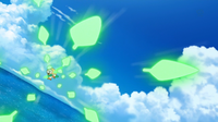 Rowlet de Ash usando follaje.