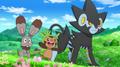 Clemont/Lem junto a sus Pokémon.