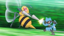 Beedrill usando doble ataque.