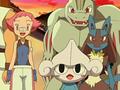 Maylene/Brega junto a sus Pokémon.