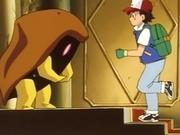 Bill disfrazado de Kabuto, junto a Ash que acude en su ayuda.