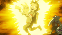 Pikachu de Goh usando rayo.