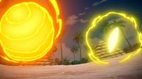 Gigavoltio destructor del Pikachu de Ash (derecha).