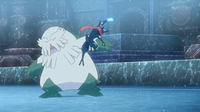 Greninja de Ash usando golpe aéreo.