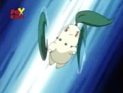 Chikorita de Ash usando hoja afilada.