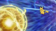 Pikachu usando bola voltio