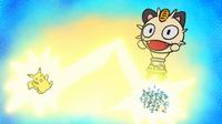 Pikachu de Ash usando rayo en una fantasía del Equipo/Team Rocket.