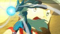 Mega-Lucario usando Esfera Aural.