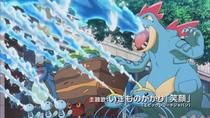 Varios Pokémon apagando un incendio.