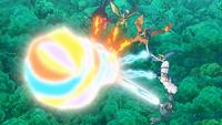 Garchomp de Ash y Flygon de Mallow/Lulú usando llamarada en un ataque combinado.