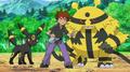 Gary Oak junto a sus Pokémon.
