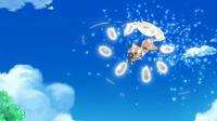 Rockruff de Ash usando lanzarrocas.