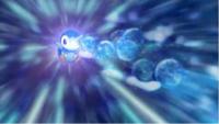Piplup usando Rayo burbuja para evitar el lanzallamas de Dragonite