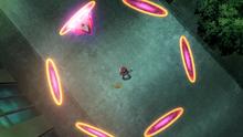 Hoopa desatado usando cerco dimensión. Junta sus seis anillos alrededor de su objetivo.