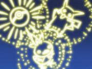 Fuego artificial con forma de Pikachu.
