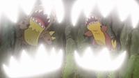 Gumshoos y Yungoos aliados usando mordisco.