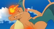 Charizard usando puño fuego