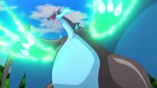 Mega-Charizard X usando garra dragón.
