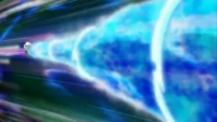 Oshawott usando Hidrobomba para evitar el lanzallamas de Dragonite