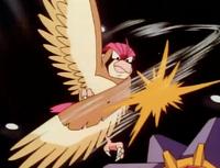 Pidgeotto usando ataque ala.