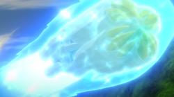 Mega-Metagross usando puño meteoro.