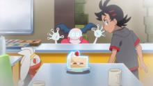 Mr. Mime de Ash usando psíquico en un recuerdo de Goh.