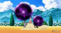 Glameow y Umbreon usando bola sombra.