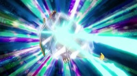 rayo hielo de Poliwrath impactando en el Charizard de Ash.