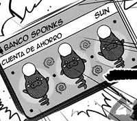 Figuras de Spoink en la tarjeta de Sun.