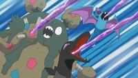 Garbodor, Salandit y Zubat de los reclutas del Team Skull usando tóxico.