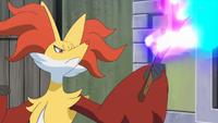 Delphox usando fuego fatuo.