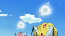 Uxie usando paranormal. Carga dos esferas de energía...