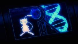 Esquema del ADN de Mewtwo donde se aprecia a Mew.