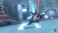 Greninja Ash usando golpe aéreo.