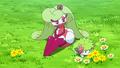 Mallow/Lulú junto a sus Pokémon.