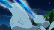 EP874 Quagsire y Wooper usando pistola agua.png