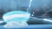 Greninja de Ash usando golpe aéreo contra el giro bola del Avalugg de Édel.