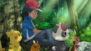 EP910 Ash, Pikachu, Dedenne, Pancham y Chespin.png