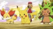 EP846 Fennekin Pikachu y Chespin cansados.jpg